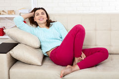 Friendly smiling middle-aged woman at home Royalty Free Stock Photo