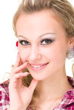 Friendly smiling young woman, closeup portrait Royalty Free Stock Photos
