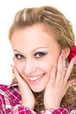 Friendly smiling young woman, closeup portrait Stock Images