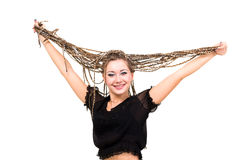 Friendly smiling young woman with dreadlocks Stock Images
