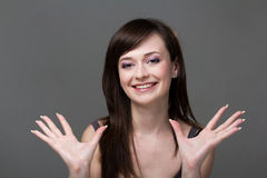 Friendly smiling young woman portrait Stock Photo