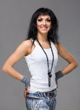Friendly smiling young woman portrait Royalty Free Stock Images
