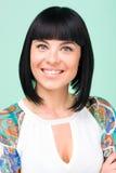 Friendly smiling young woman portrait closeup Stock Images