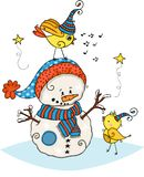 Friendly snowman with two cute yellow birds royalty free illustration