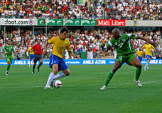 Friendly soccer match Brasil vs Algeria Royalty Free Stock Images