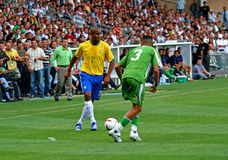 Friendly soccer match Brasil vs Algeria Royalty Free Stock Images