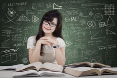 Friendly student smiling in the class Stock Photos