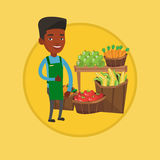 Friendly supermarket worker vector illustration. African-american greengrocer giving thumb up. Greengrocer standing on the background of shelves with fresh Royalty Free Stock Photo