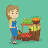 Friendly supermarket worker vector illustration. Caucasian female supermarket worker giving thumb up. Young female supermarket worker standing on the background vector illustration