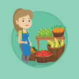 Friendly supermarket worker vector illustration. Stock Photos