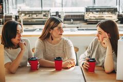 Friendly support. Women listen to their friend. Friendly support. Two young women listen carefully to their friend stock images