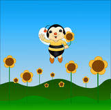 Friendly sweet bee with sunflowers Stock Images