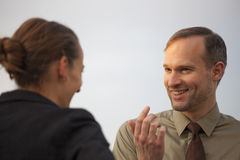 Friendly talk outdoor Stock Images