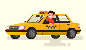 Friendly taxi driver at the wheel of the car. Vector illustratio. N of a flat design Royalty Free Stock Image