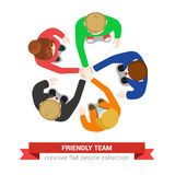 Friendly team work in vector flat: hand on hand, support, staff Royalty Free Stock Image