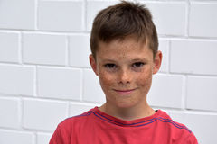 Friendly teenager boy. Portrait of a friendly teenager boy with a lot of freckles stock images