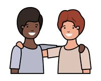 Friendly teenagers ethnicity boys characters. Vector illustration design royalty free illustration