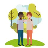 Friendly teenagers ethnicity boys in the park. Vector illustration design stock illustration