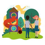 Friendly teenagers ethnicity couple at the amusement park. Vector stock illustration