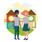Friendly teenagers ethnicity couple at the amusement park. Vector vector illustration