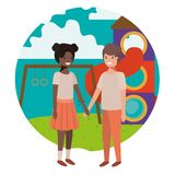 Friendly teenagers ethnicity couple at the amusement park. Vector royalty free illustration