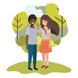 Friendly teenagers ethnicity couple in the park. Vector illustration design vector illustration