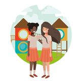 Friendly teenagers ethnicity girls at the amusement park. Vector stock illustration