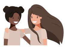 Friendly teenagers ethnicity girls characters. Vector illustration design vector illustration