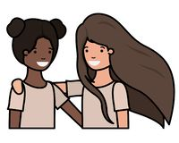 Friendly teenagers ethnicity girls characters. Vector illustration design royalty free illustration