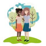 Friendly teenagers ethnicity girls at the park. Vector illustration design stock illustration