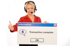 Friendly tele banking operator. Smiling tele banking operator shows transaction success - isolated Royalty Free Stock Images