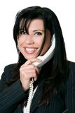 Friendly telephone manner stock photography