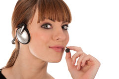 A friendly telephone operator Royalty Free Stock Image