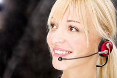 Friendly telephone operator Stock Photo