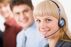 Friendly telephone operator Royalty Free Stock Photos