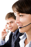 Friendly telephone operators Royalty Free Stock Photos