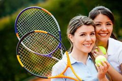 Friendly tennis players Royalty Free Stock Image