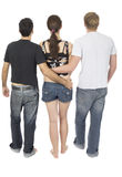 Friendly threesome. 2 men and 1 woman Royalty Free Stock Photography