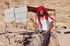 Friendly tour guide of Petra in Jordan stock images