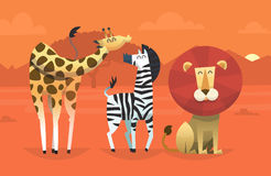 Friendly tropical animals. Portrait of friendly wild savanna animals taking picture in the desert on sunset with mountains on the background. Vector illustration Stock Images