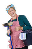 Friendly typical house wife. With bucket and besom Stock Photo
