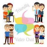 Friendly video chat royalty free illustration