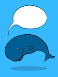 Friendly Whale With Speech Bubble. Friendly Whale swimming underwater with blank Speech Bubble, cartoon illustration Stock Image