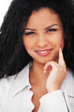 Friendly woman with curly hair Royalty Free Stock Image