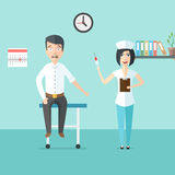 Friendly woman doctor or nurse with syringe in her hand and scar. Ed man. Doctor and patient in doctors office. Medical healthcare illustration in modern flat Stock Images