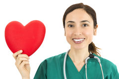 Friendly woman doctor showing heart Stock Images