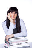 Friendly woman with file folder Stock Images