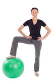 Friendly Woman Fitness with Gym Ball Stock Photo