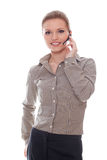 Friendly woman helpline operator Royalty Free Stock Images