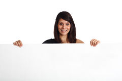 Friendly woman holding a banner Stock Photography